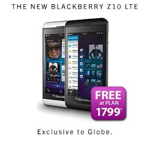 Blackberry Z10 at Globe Telecom Postpaid Plan