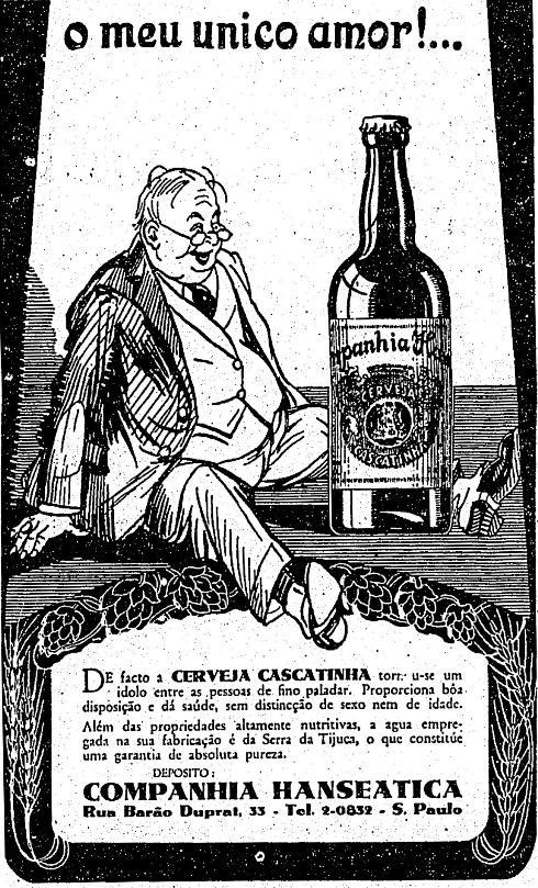 Propaganda de 1932 da Cerveja Cascatinha com uma declaração de amor pela cerveja por parte de um consumidor