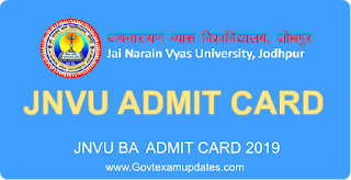 jnvu ba 1st year admit card