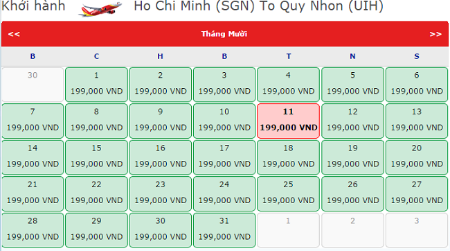Giá vé máy bay TPHCM đi Quy Nhơn tháng 10 hãng Vietjet Air