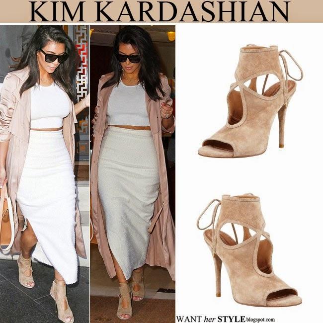 fb8e80710c1 Kim Kardashian in beige suede cutout open toe sandals by Aquazzura  September 14 want her style