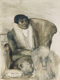 Dora Maar ritratto di Alice B. Toklas seduta con il cane