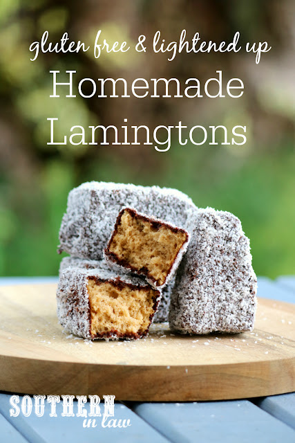 The Best Easy Homemade Gluten Free Lamingtons Recipe - low fat, gluten free, nut free, dairy free, lower sugar, homemade gluten free sponge cake recipe, healthy australia day recipes