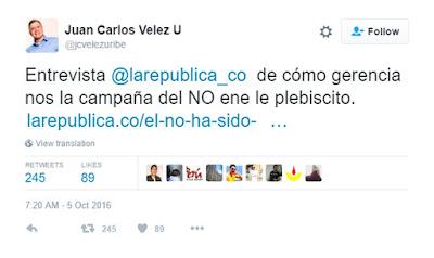 Juan Carlos Vélez Uribe entrevista a La República. Fuente: https://todaslassombras.blogspot.com.co/2016/10/la-campana-de-la-infamia.html