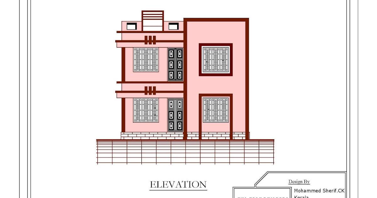 2d Front Elevation 1849 Sqft 2 Floor 4 Bedroom 4 Bathroom