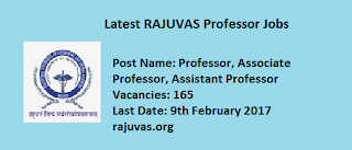 ejobnotificationRAJUVAS 181 Teaching & Non-Teaching Recruitment Notification 2017 Govt Jobs Apply Online www.rajuvas.org