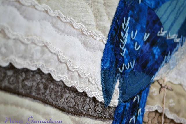текстильный коллаж, текстильная смальта