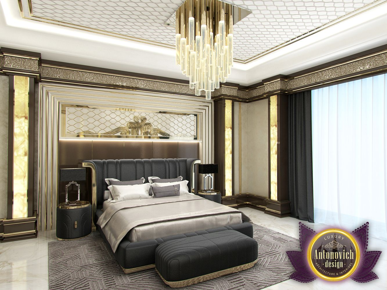 Luxury antonovich design uae master bedroom in modern for New style bedroom bed design