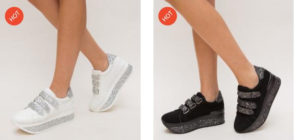 Adidasi cu platforma negri, albi din piele esco intoarsa cu gliter