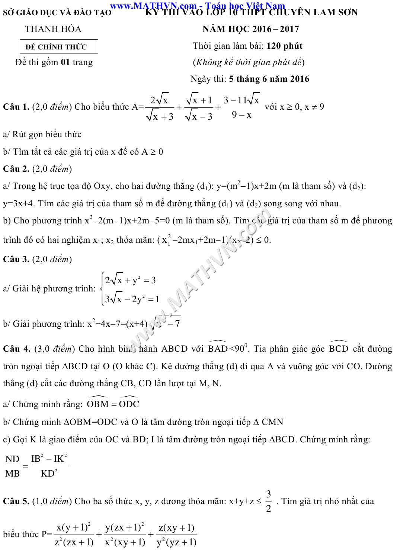 đề thi vào lớp 10 chuyên Lam Sơn 2016-2017 môn toán