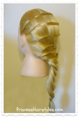 Cute hairstyle for long or medium hair. Step ladder braid.