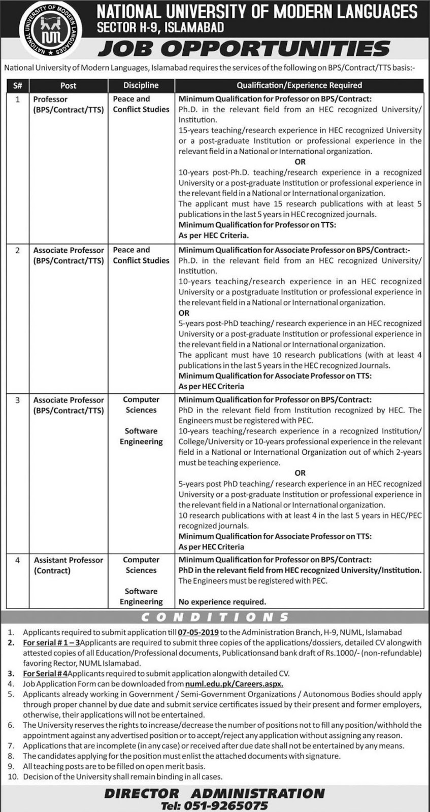 National University NUML Islamabad Jobs 2019