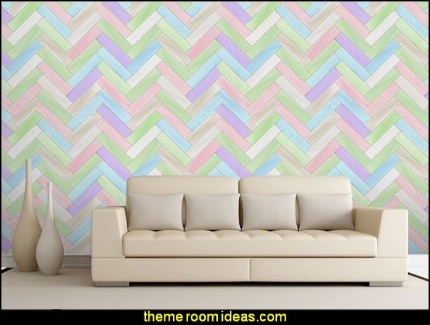 Colorful Pastel Zig Zag Chevron Wood Textured Paneling - Wall Mural Wallpaper