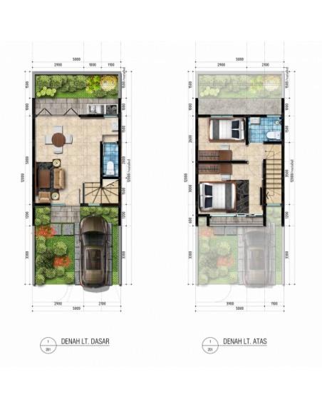Denah rumah ukuran 5x12 meter 2 kamar tidur 2 lantai