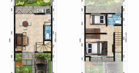 Lingkar Warna Denah Rumah Minimalis Ukuran 5x12 Meter 2 Kamar Tidur 2 Lantai Tampak Depan