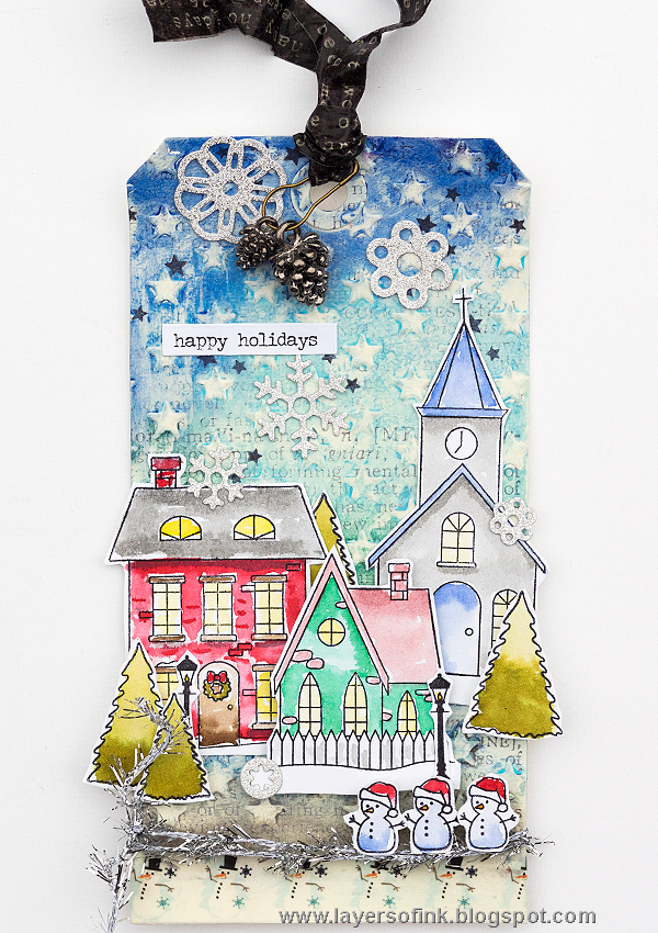 Layers of ink - Winter Christmas Village Tag Tutorial by Anna-Karin