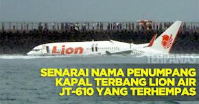 Thumbnail image for Senarai Nama Penumpang Kapal Terbang Lion Air JT-610 Yang Terhempas