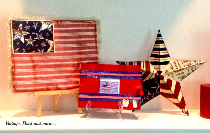 Vintage, Paint and more... scrapbook paper flag craft, vintage flag craft, patriotic decor