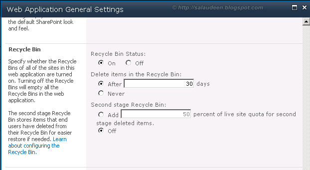 sharepoint recycle bin settings 2010
