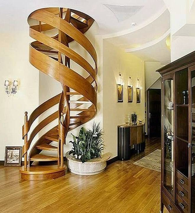 Compact Spiral Staircase: Home Decor: Amazing Spiral Staircase With Slide Wooden Design