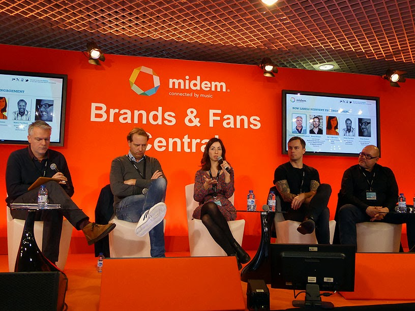 Midem 2014 : Christof Ellinghaus (City Slang), Robin Van Beek (8ball Music), Núria Muntaner (Sones), Ronny Krieger (Monkeytown Records), Alain Verhave (Epitaph Records) / photo S. Mazars
