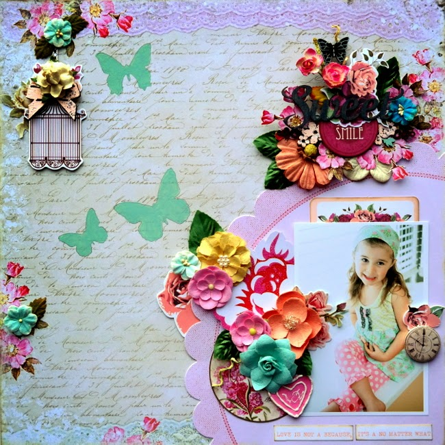 Pink and Cream Mixed Media Scrapbook Layout with Stenciled Buitterflies and Layered Flower Clusters