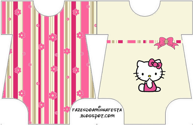 Hello Kitty with Flowers,  Baby Bodysuit invitation.