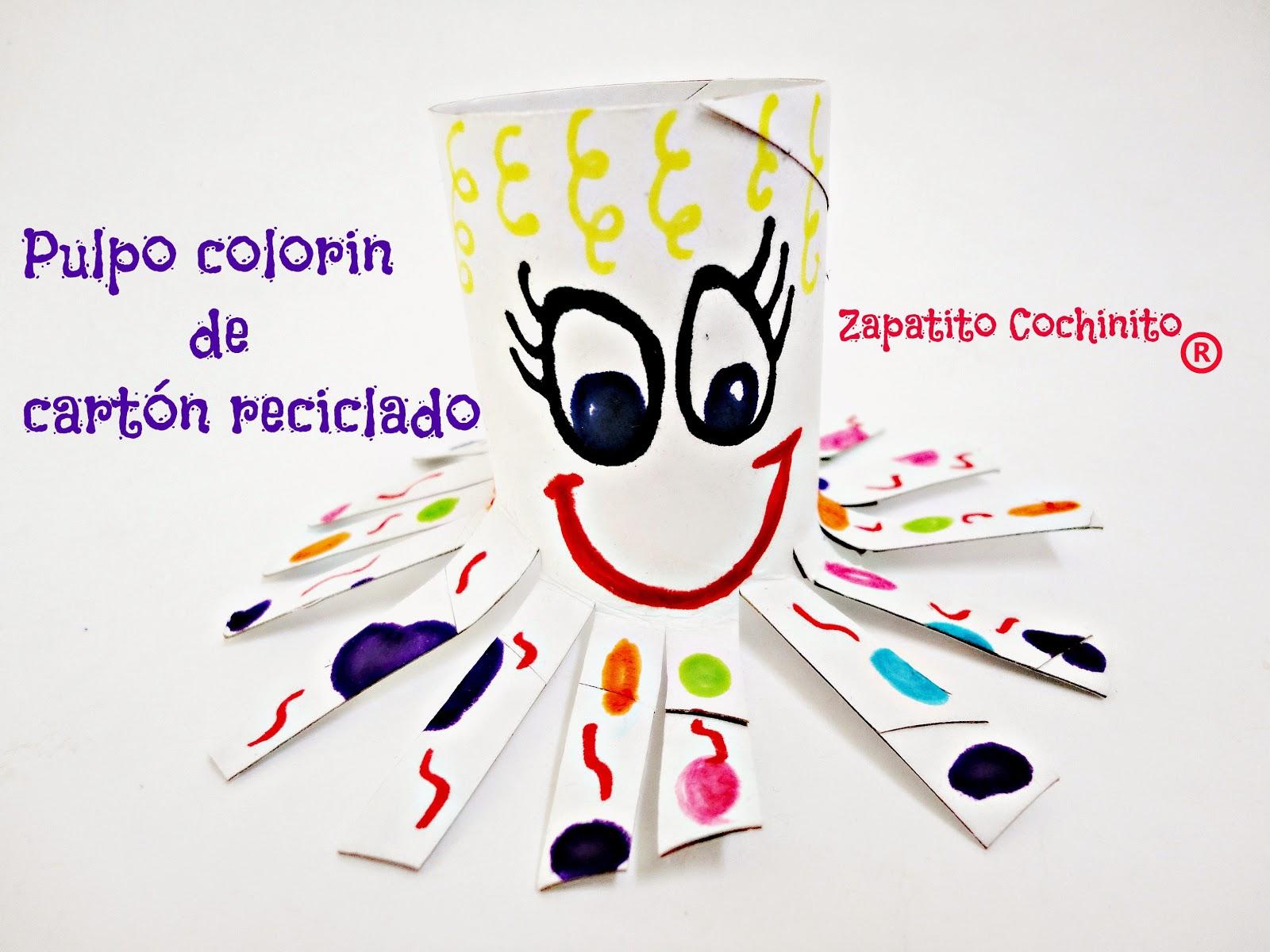 Pulpo colorin con tubo de cartón