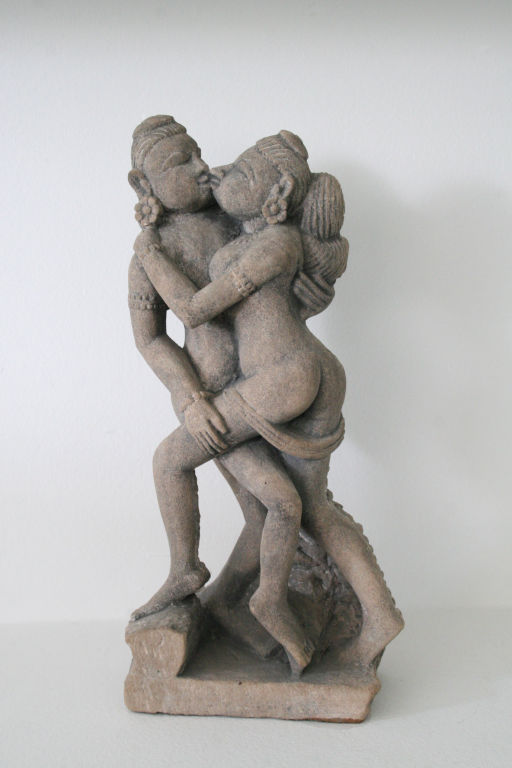 Lovers embracing and Kissing - Sandstone Sculpture from Indian Temple - 12th Century