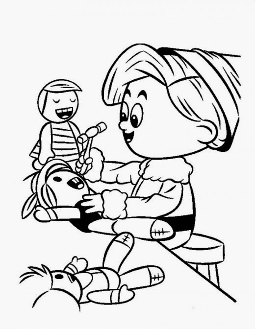 This is a picture of Zany Elves Coloring Page
