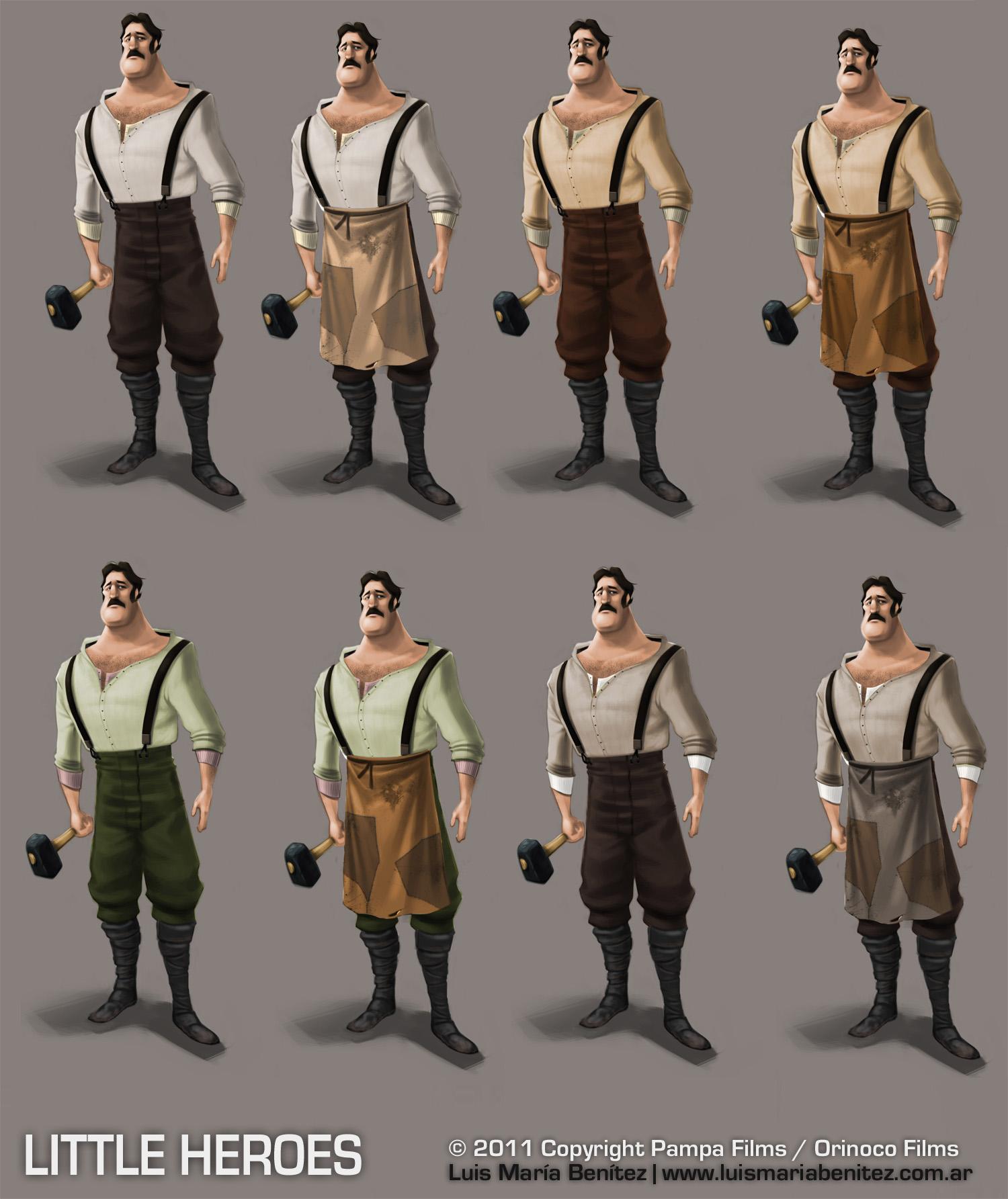 character color variation for Little Heroes / Variación de colores en personajes © Luis María Benítez