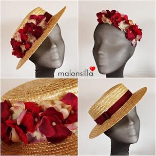 Sombrero paja + diadema flores, dos en uno