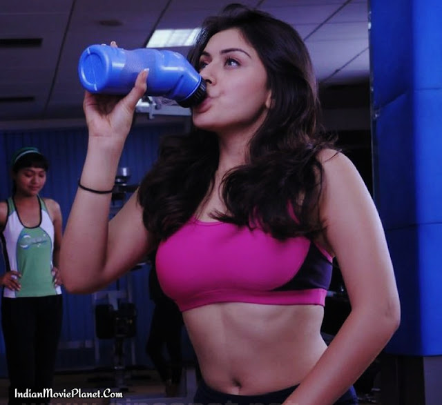 actress hansika motwani hot navel showing gym stills