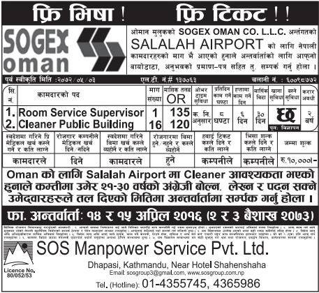 Jobs For Nepali In Oman, Free Visa & Free Ticket,  Salary -Rs 37,260/