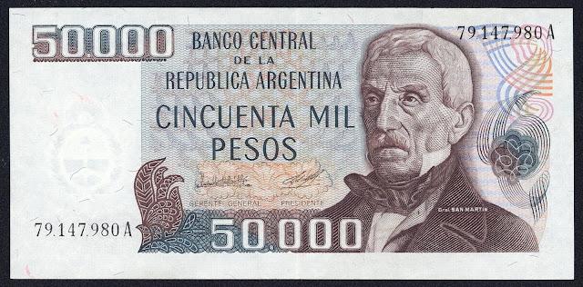 Argentina Banknotes 50000 Pesos banknote 1980 General Jose de San Martin