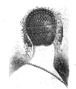 Coiffure for a soiree with Grecian braid, Circassian braid, basket plait, Harper's 1855