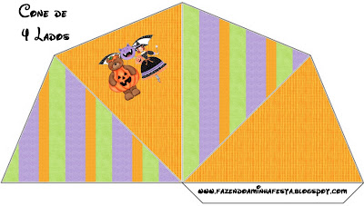 Halloween Bear and Witch: Free Printables, Party Favor Boxes.