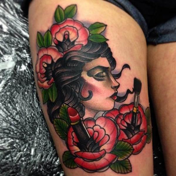 Sexy Thigh Gypsy Tattoo For Girls