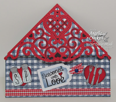 "ODBD ""Decorative Corners"" Dies, ""Recipe Card and Tags"" Dies, Gingham Background, Baking Tag Sentiments, Recipe Card Icons, Created by Angie Crockett"