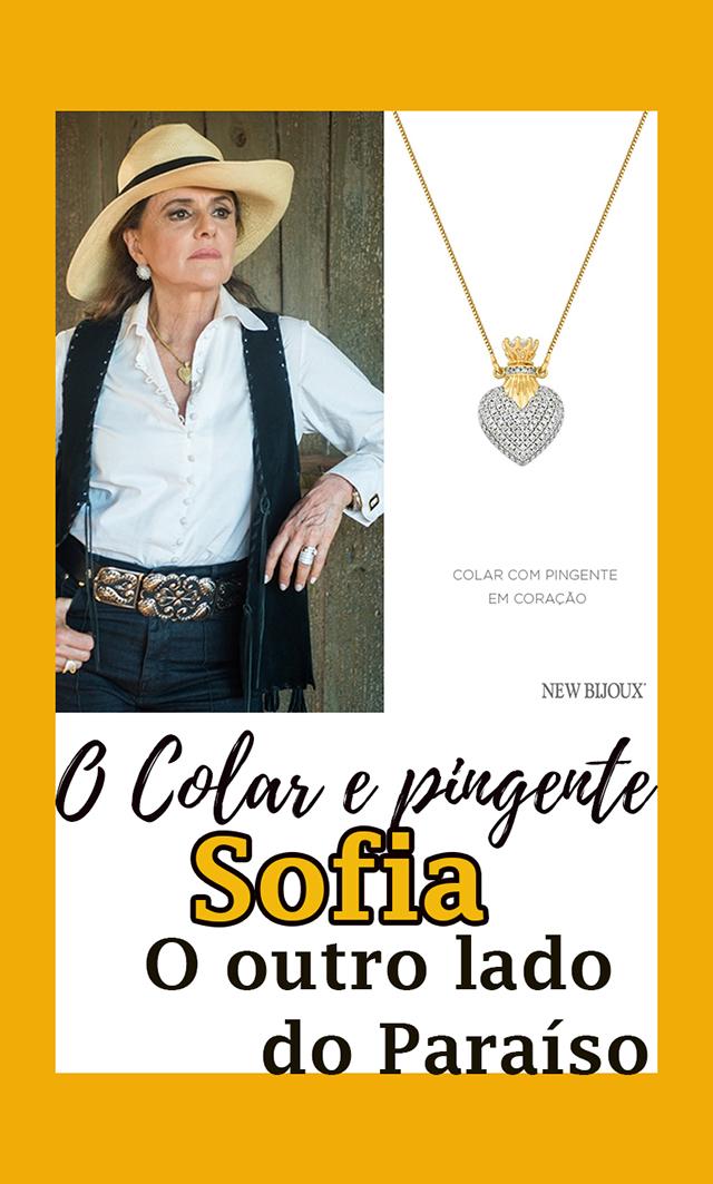 O colar com pingente da Marieta Severo, a Sofia, em O Outro Lado do Paraíso