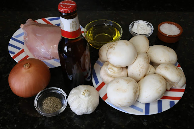 Ingredientes para champiñones con pollo a la cerveza