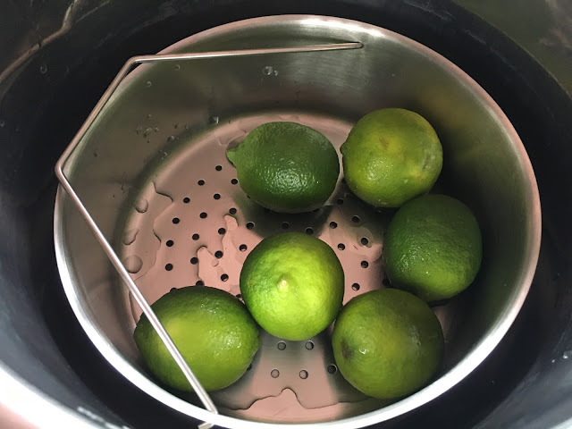 Quick Lime Pickle - Instant Pot, Thermomix, pressure cooker and conventional methods - Limes in the Instant Pot in the Kuhn Rikon Trio Separator steamer basket insert