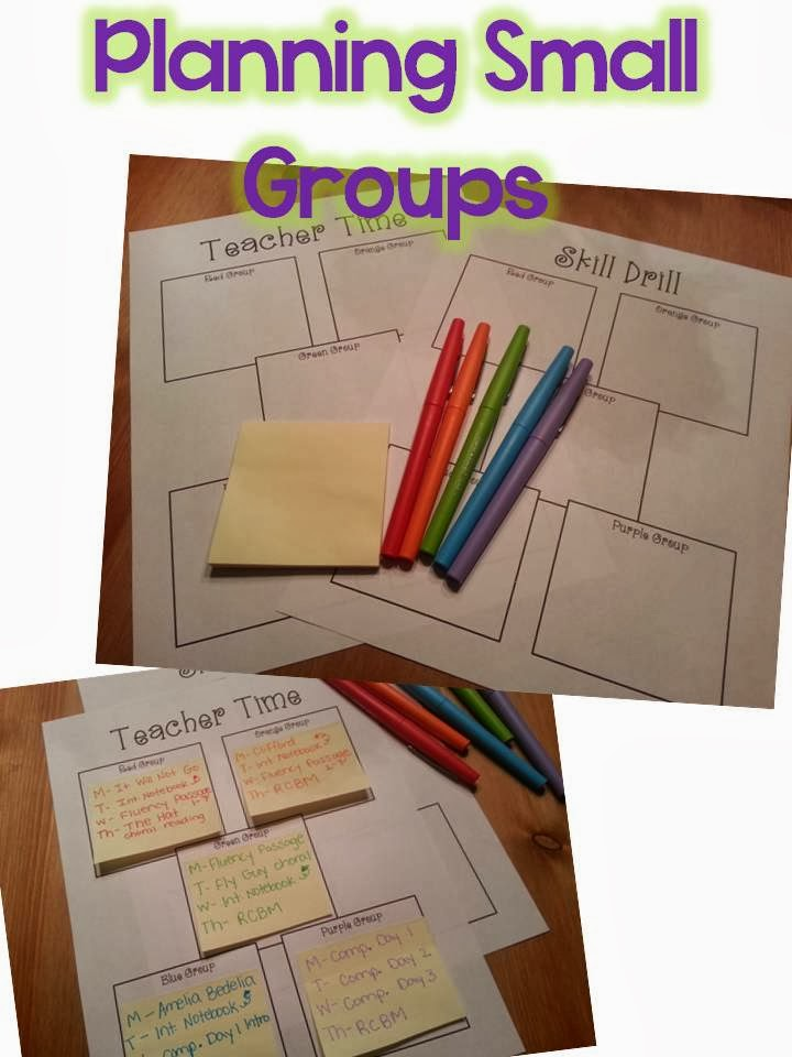 FREE post-it note organization- planning small group freebie
