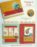 Stampin' Up! Paisleys & Posies Cards for September Stamp of the Month Club Kit 2016 #stampinup Holiday Catalog www.juliedavison.com/clubs