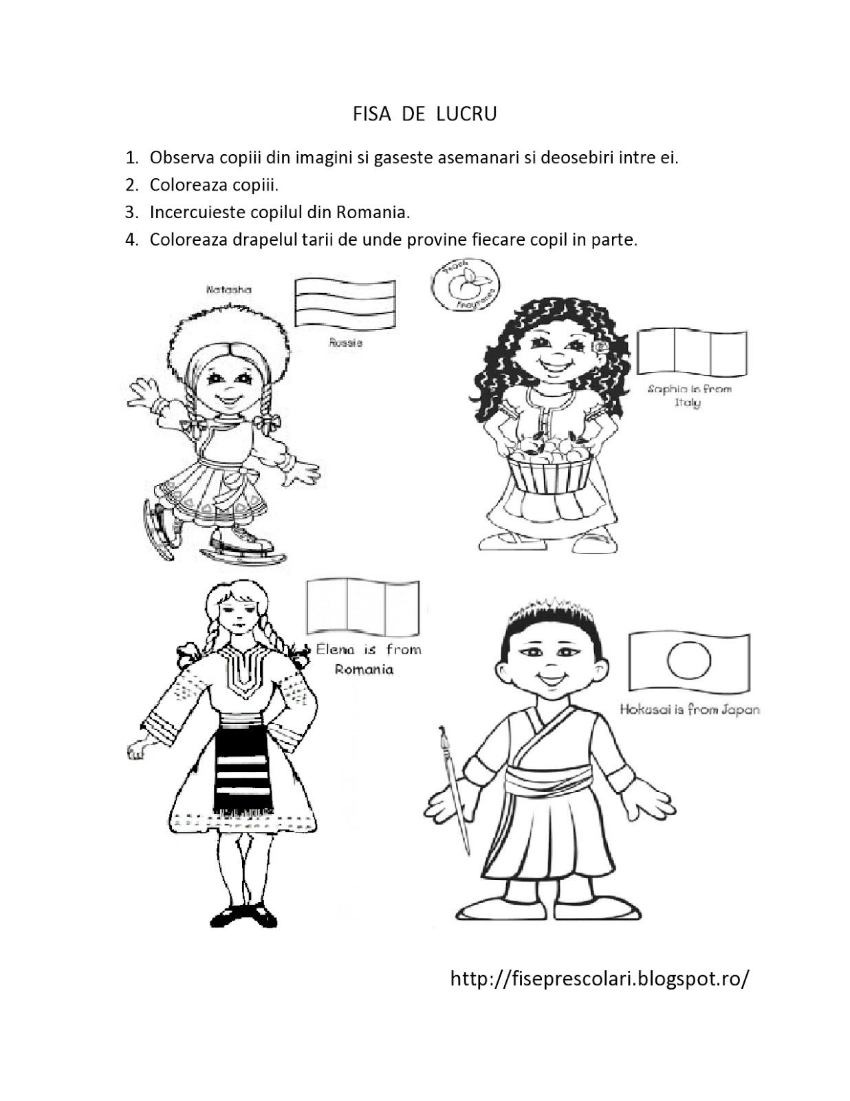 Copiii Lumii Fise De Lucru Pentru Copiii De Gradinita