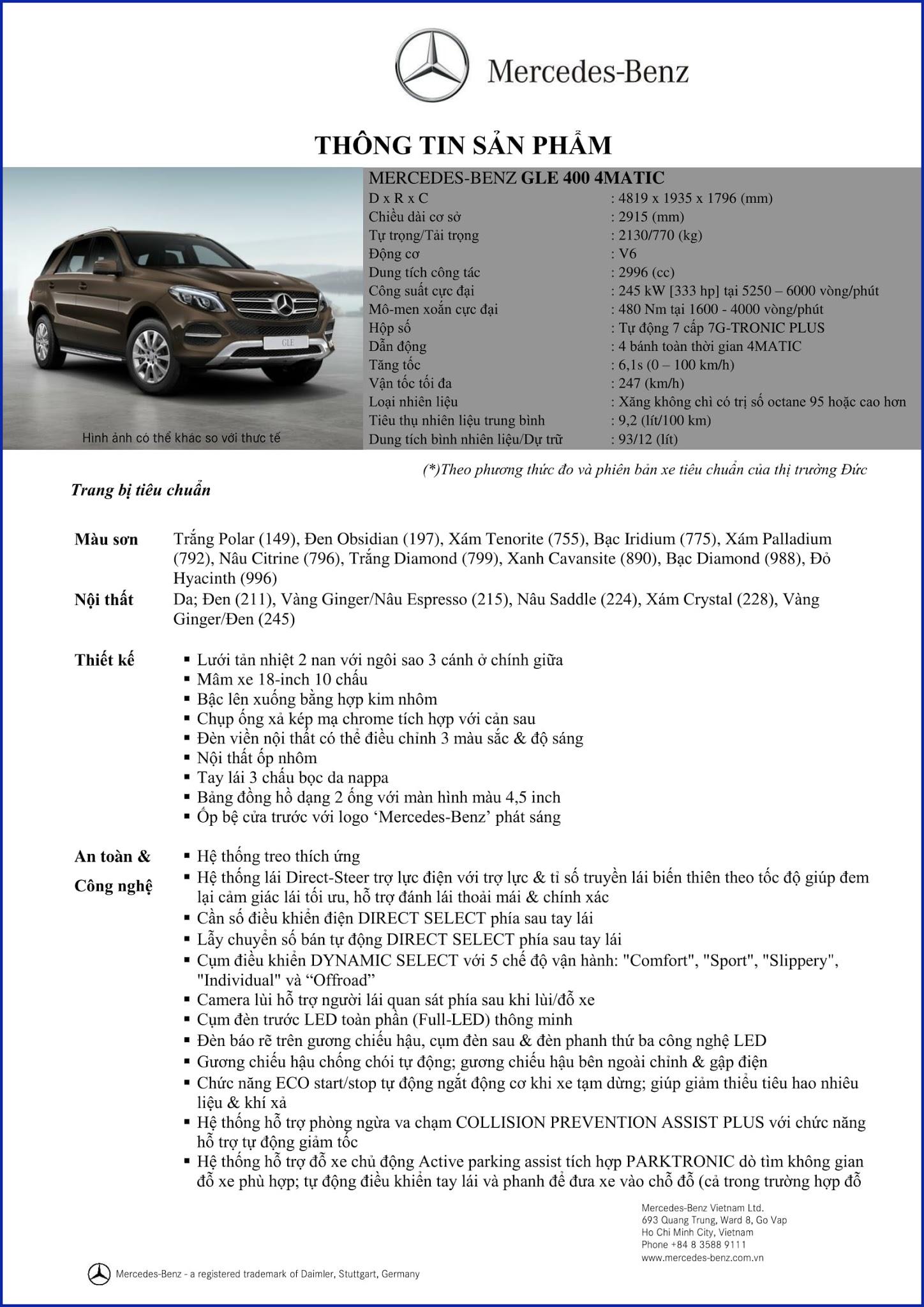 Bảng thông số kỹ thuật Mercedes GLE 400 4MATIC 2018 tại Mercedes Trường Chinh