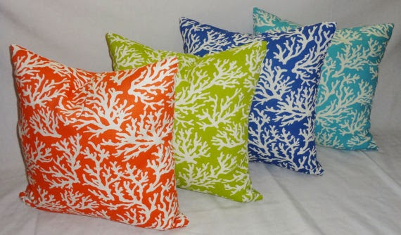 Coral pillows in lime, blue, orange, and turquoise