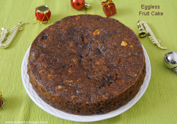 Eggless Christmas Fruit Cake Recipe