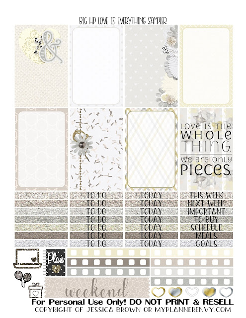 Free Printable Love Is Everything Sampler for the Big Happy Planner from myplannerenvy.com