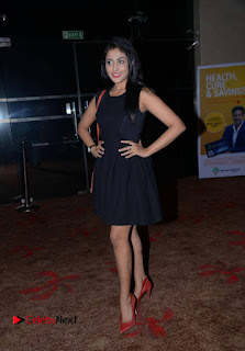 Madhu Shalini Pictures in Black Short Dress at Well Care Health Card Launch